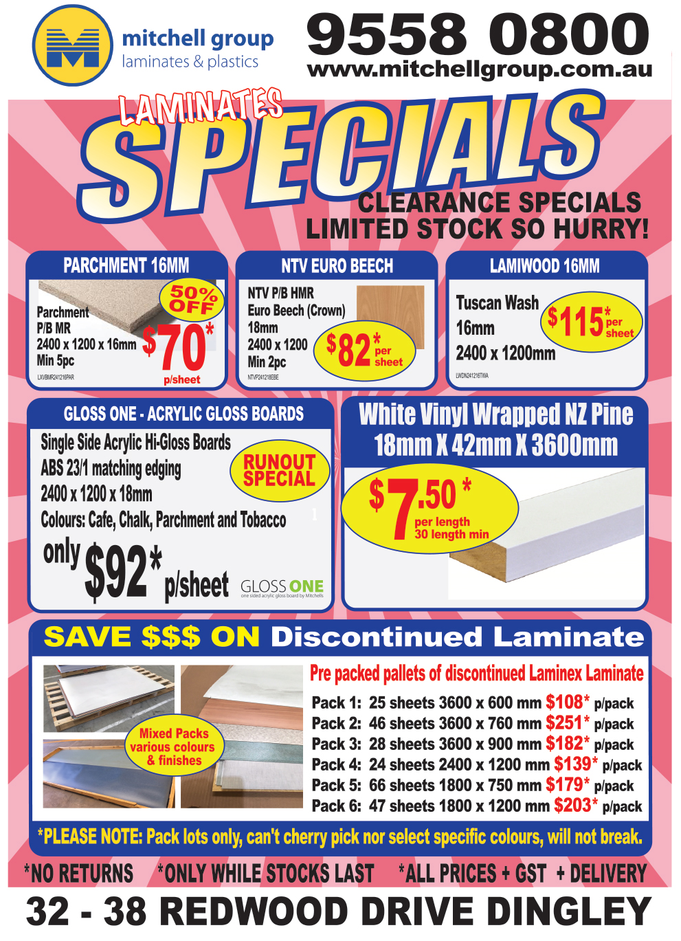 Laminates Runout Specials March 2018 website